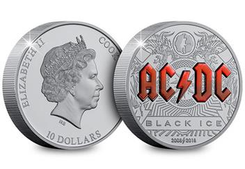 2018 Acdc Black Ice 2Oz Silver Black Proof Coin Obverse Reverse