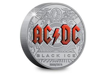 2018 Acdc Black Ice 2Oz Silver Black Proof Coin Reverse