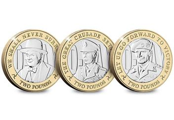 D Day 75Th Leaders Iom Cuni Bu Two Pounds Three Coin Set Reverses