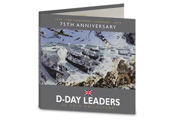 D Day 75Th Leaders Iom Cuni Bu Two Pounds Three Coin Set In Pack Front