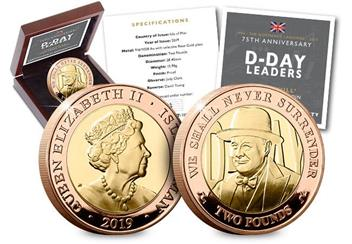 D Day 75Th Churchill Iom Gold Proof Two Pound Coin