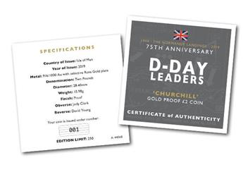 D Day 75Th Churchill Iom Gold Proof Two Pound Coin Certificate