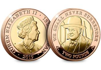 D Day 75Th Churchill Iom Gold Proof Two Pound Coin Obverse Reverse