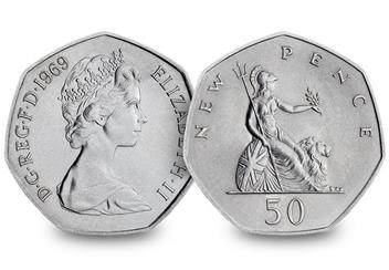 50Th Anniversary Of The 50P Coin Pair 1969
