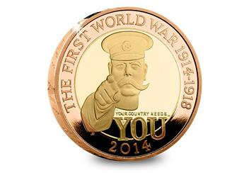 Uk 2014 Wwi 100Th Lord Kitchener Gold Proof Two Pound Coin Reverse