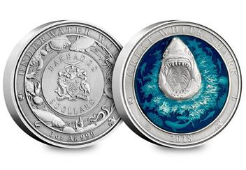 2018 Great White Shark Enamel 3Oz Silver Antique Finish Coin Obverse Reverse
