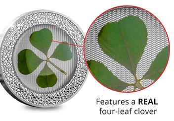 2019 Ounce Of Luck Four Leaf Clover 1Oz Silver Proof Coin Close Up