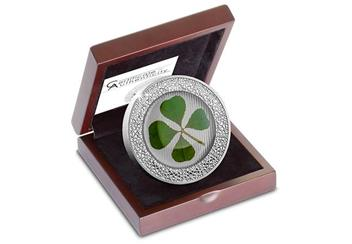 2019 Ounce Of Luck Four Leaf Clover 1Oz Silver Proof Coin In Display Case
