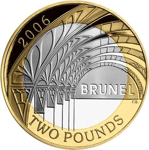 UK 2006 £2 Brunel Arches Coin