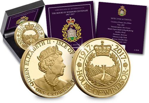 House of Windsor Gold-Plated Proof Crown Coin