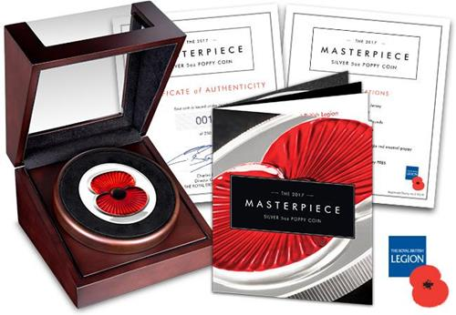 RBL 2017 Silver Proof 5oz Masterpiece Poppy Coin in Display Case