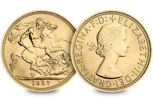 Uk 1957 Mary Gillick Gold Sovereign Obverse Reverse